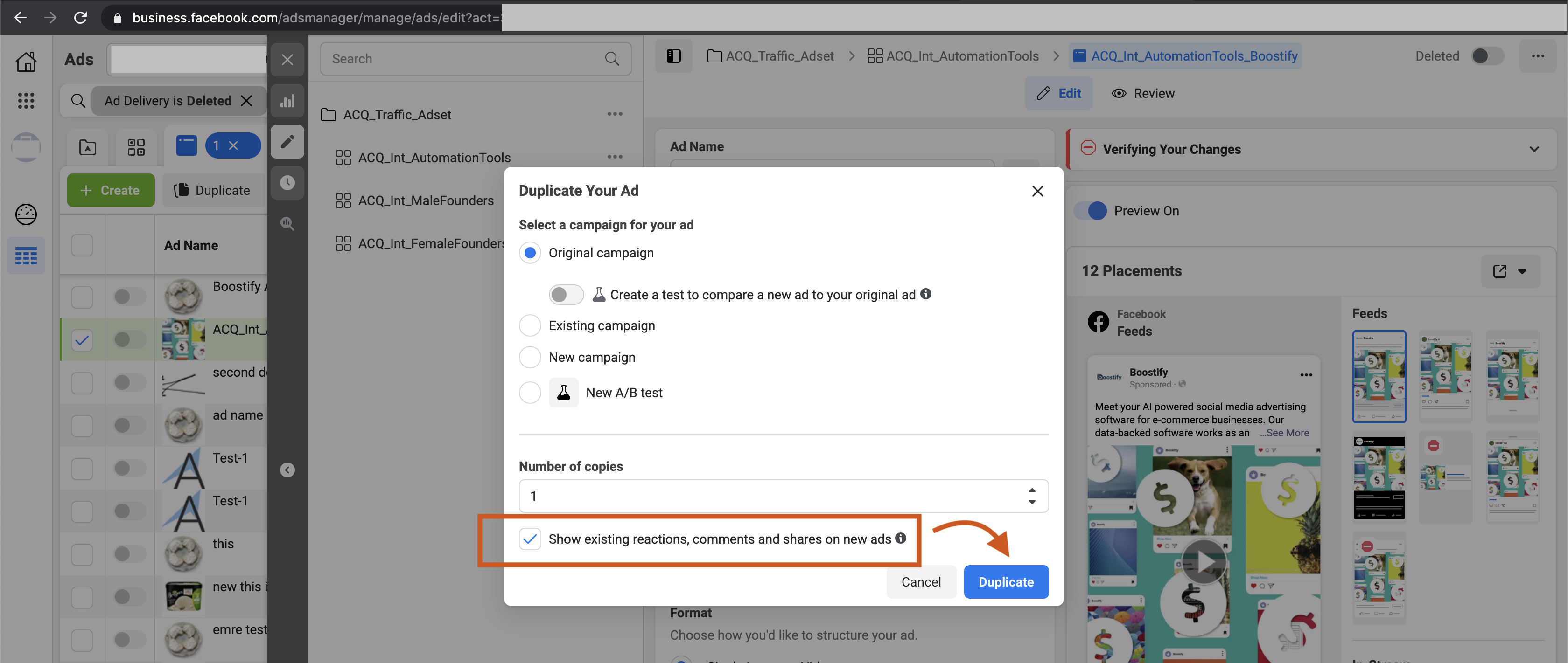 copy existing comments interactions on facebook ad